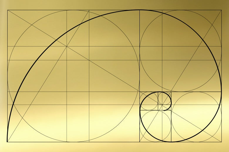 A golden rectangle filled with the golden spiral.