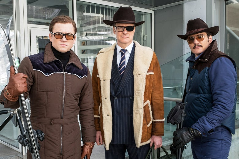 Taron Egerton, Colin Firth, and Pedro Pascal in Kingsman: The Golden Circle.