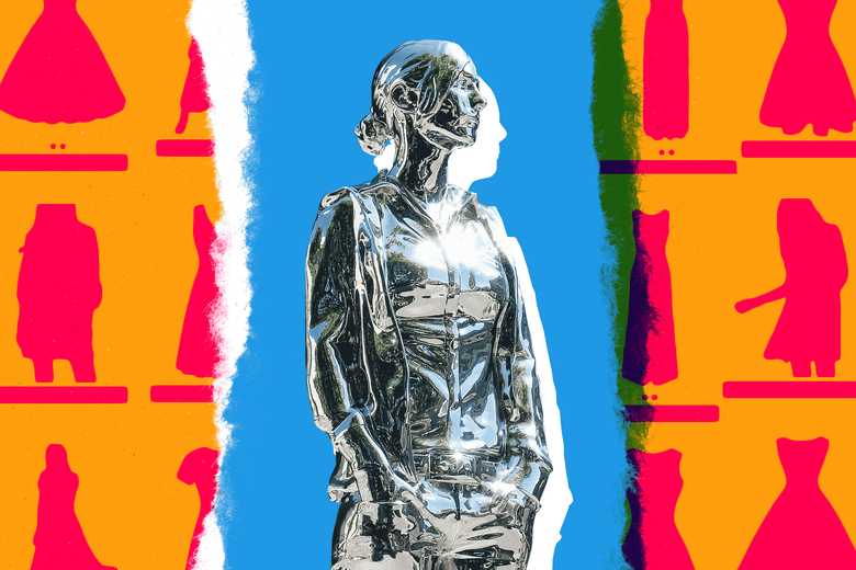A chrome sculpture of a woman made from a 3D body scan surrounded by silhouettes of Amazon.com dresses.