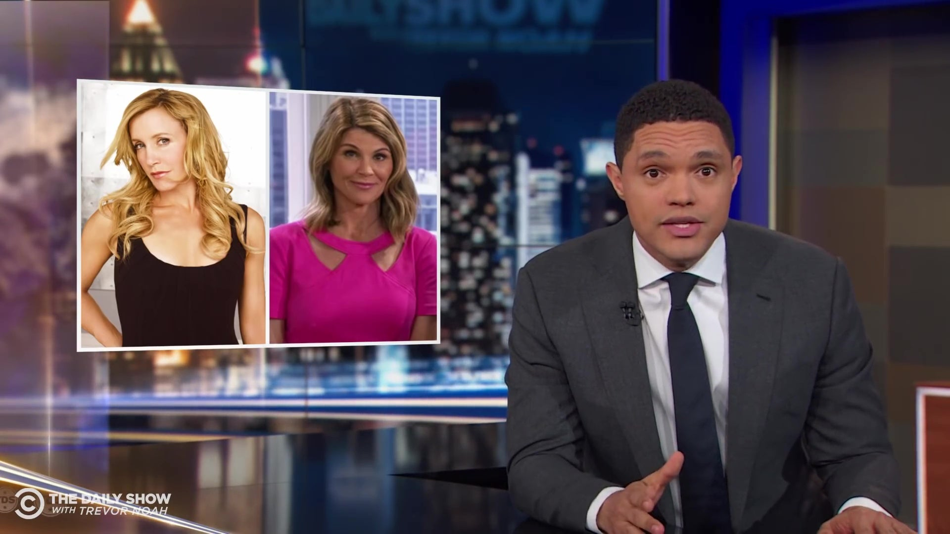 Trevor Noah in front of photos of Felicity Huffman and Lori Loughlin.