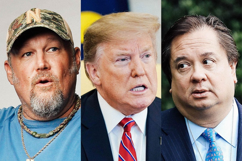 Headshots of Larry the Cable Guy, Donald Trump, and George Conway.