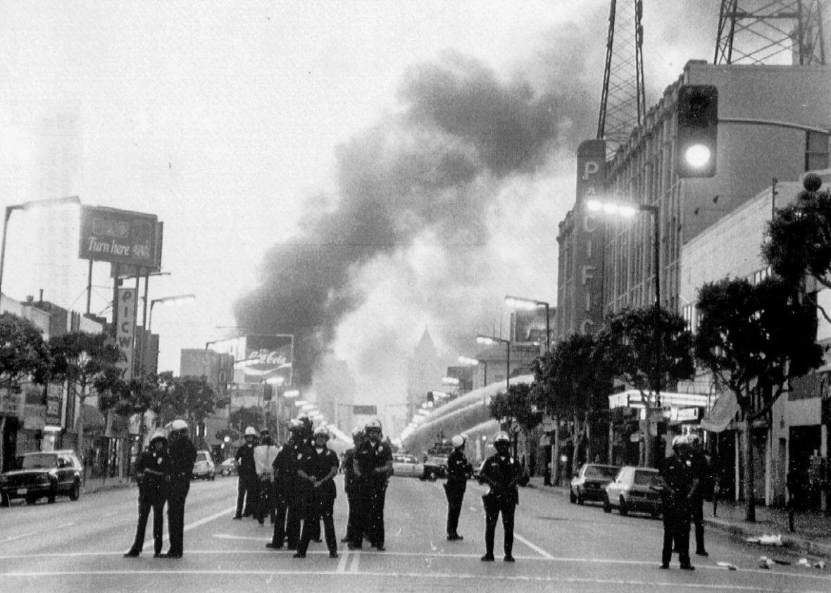 Police guard Hollywood Boulevard after the Rodney King incident