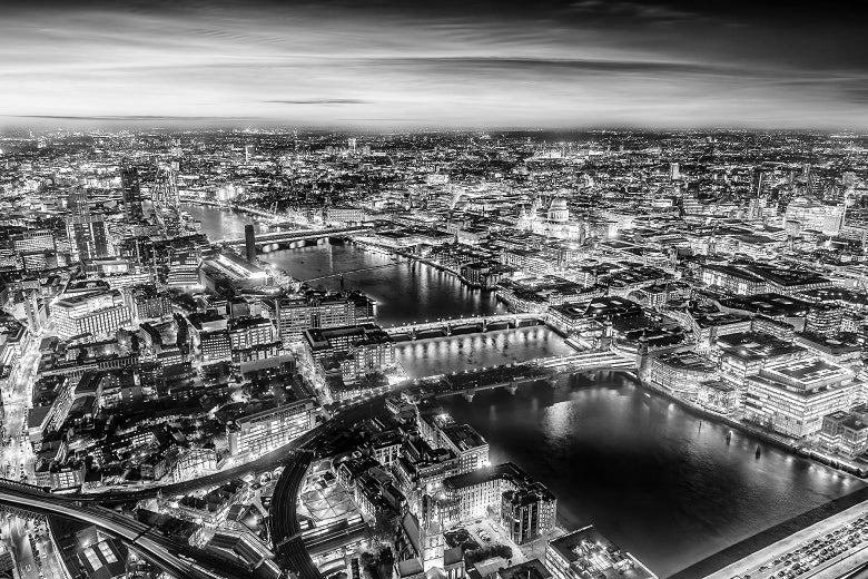 Black and white aerial view of central London