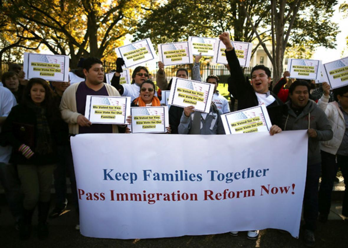 Immigrant activists participate in a rally on immigration reform in front of the White House on November 8, 2012 in Washington, DC.
