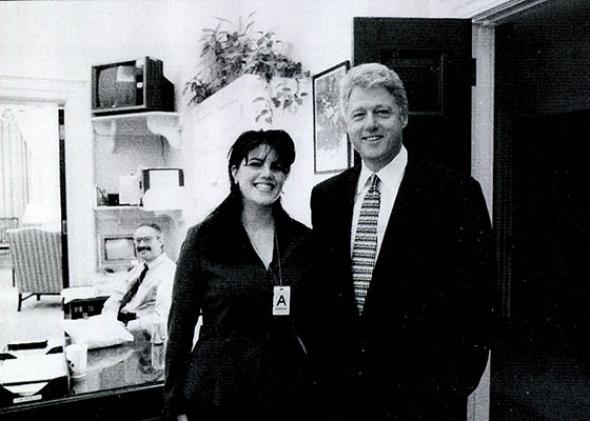White House intern Monica Lewinsky meeting President Bill Clinton.