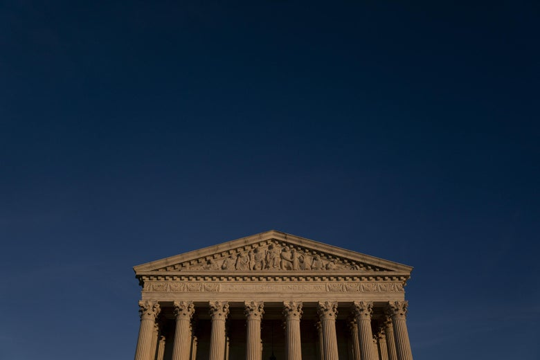 The Supreme Court at dusk.
