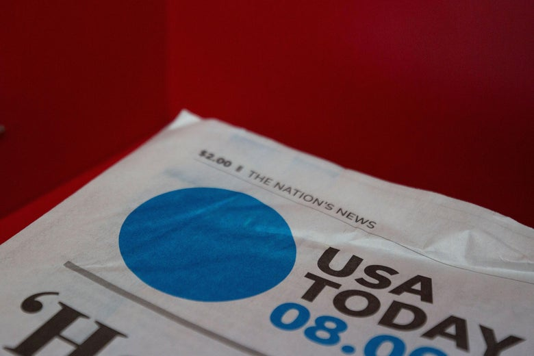 The front page of a USA Today newspaper is seen at a convenience store in Washington, DC, on August 6, 2019.