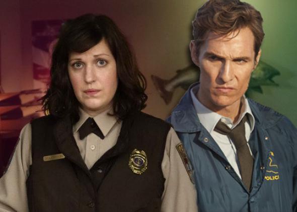Allison Tolman in Fargo, left, and Matthew McConaughey in True Detective.