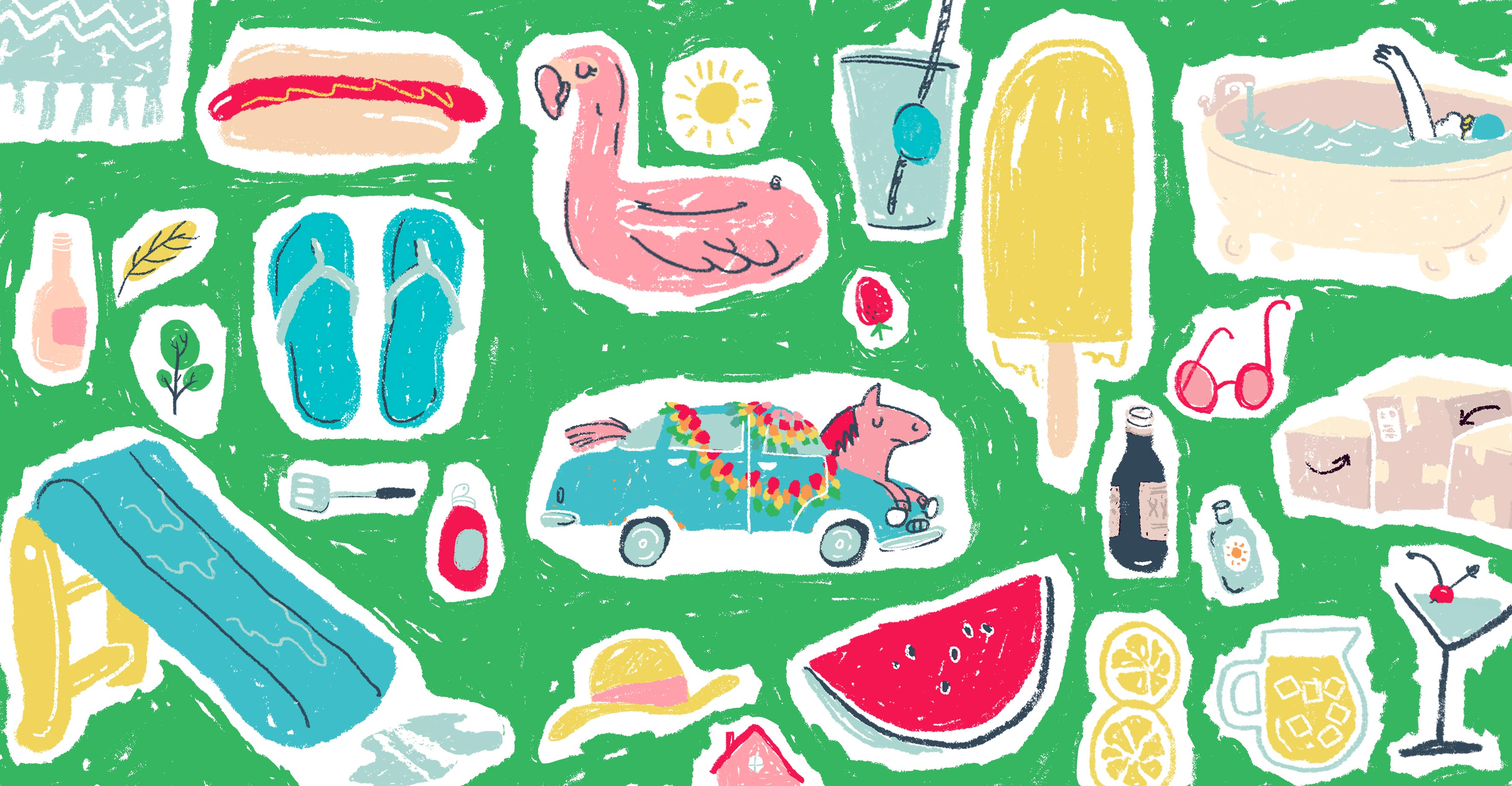A horse parade car, waterslide, lemons, and other summer stuff.