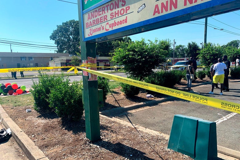 Police tape is seen near the scene of a shooting on June 22, 2020 in Charlotte, North Carolina, that resulted in two deaths and several more people wounded or injured.
