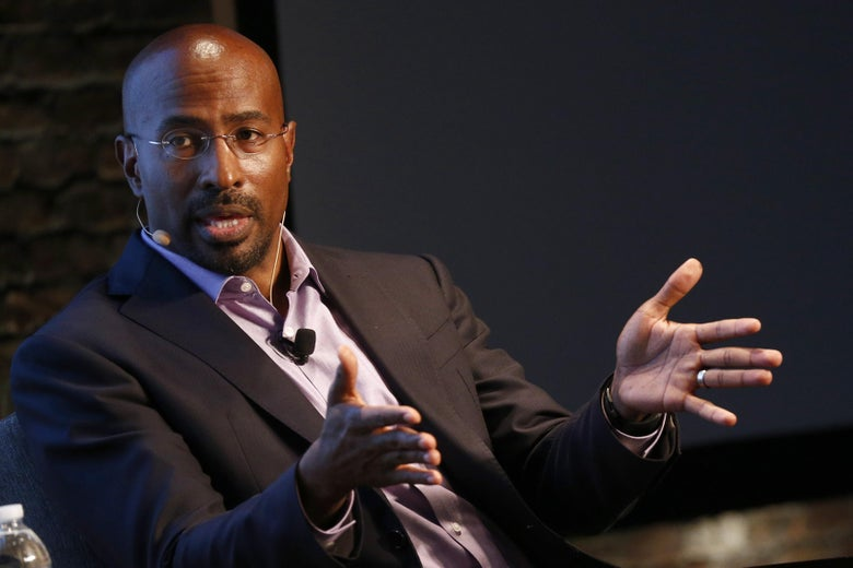 Author and CNN commentator Van Jones speaks onstage, seated.
