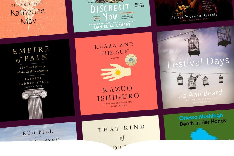 Covers of some of the audiobooks available from Slate.