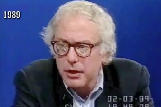 Screenshot of a video of Bernie Sanders speaking on TV in 1989.