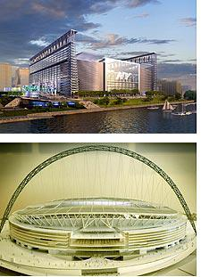 Model for New York's new stadium and London's Wembley (lower)