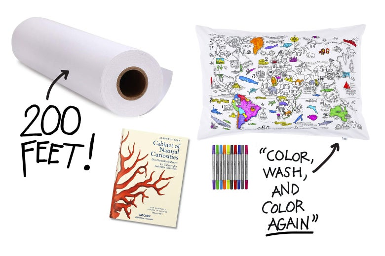 Collage of art items, including a 200-foot roll of paper and a pillowcase you can color, wash, and color again.