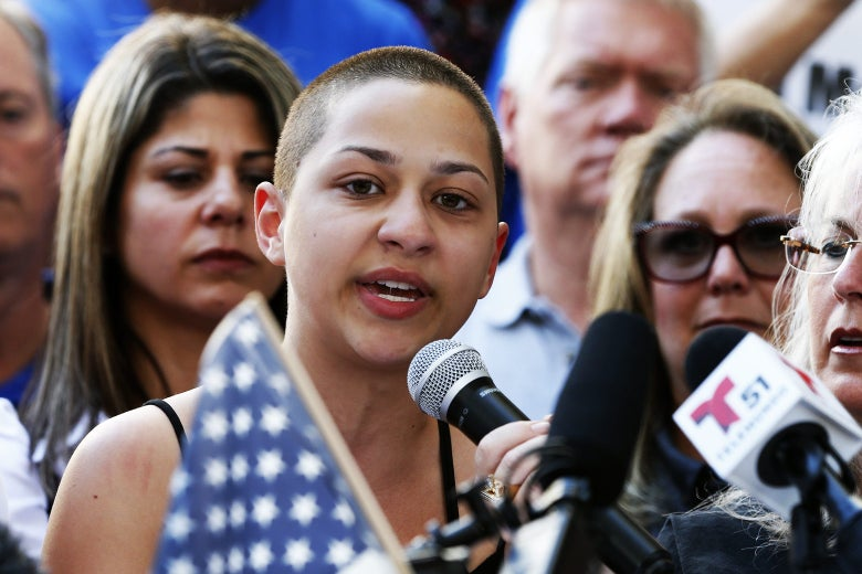Marjory Stoneman Douglas High School student Emma González gives a speech at a rally for gun control at the Broward County Federal Courthouse in Fort Lauderdale, Florida, on Feb. 17.