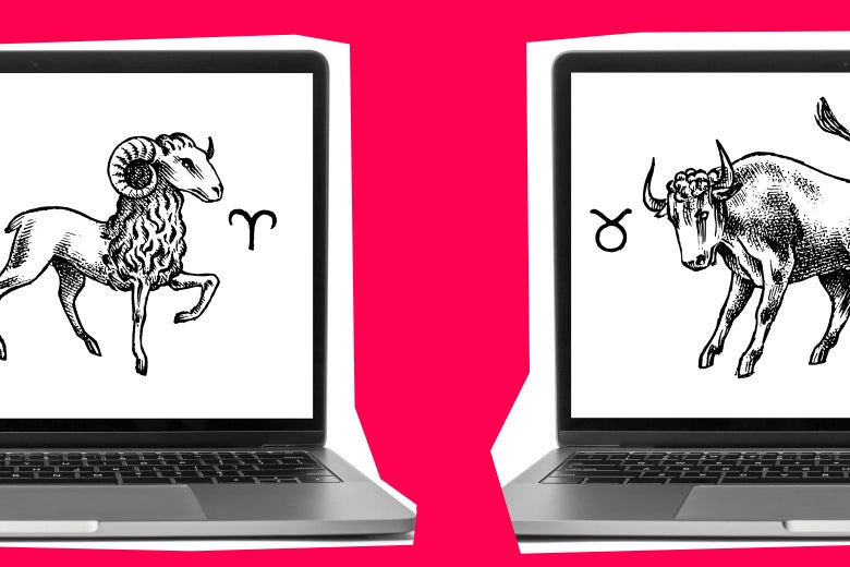 Two laptop screens sit side by side. The screen at left displays an Aries sign. At right a Taurus sign is shown.