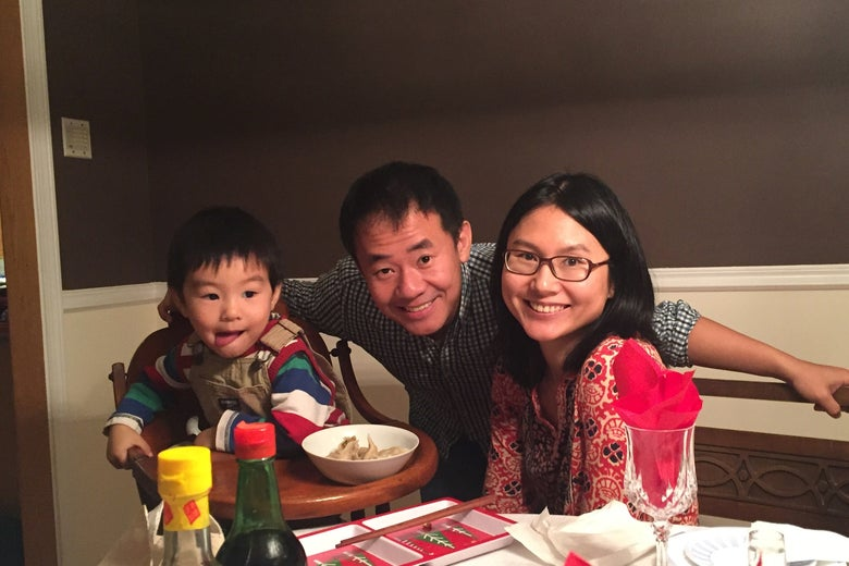 Xiyue Wang is shown with his wife and son in this family photo released in Princeton, New Jersey on July 18, 2017.