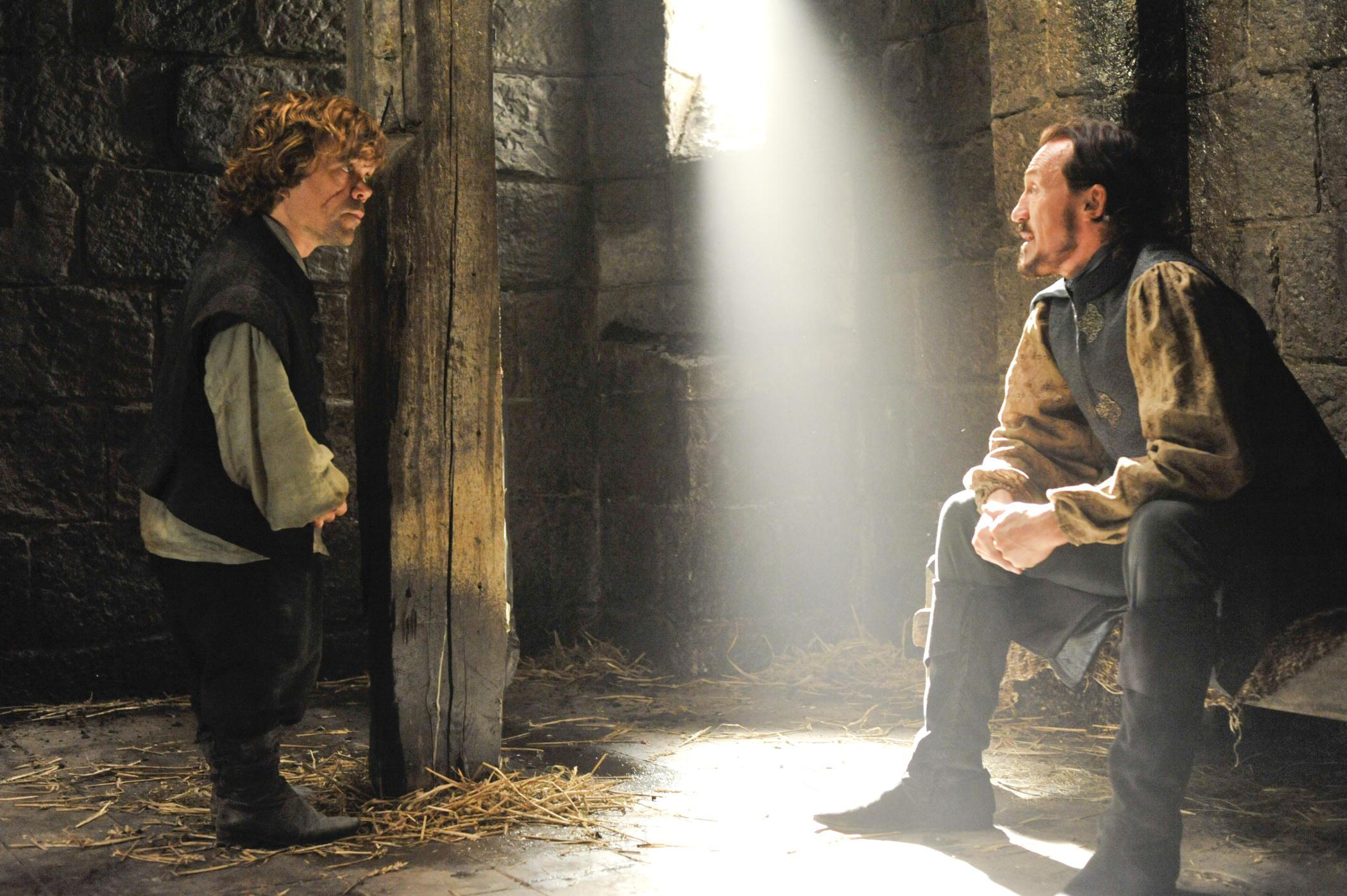 Tyrion Lannister (Peter Dinklage) and Bronn (Jerome Flynn) in Game of Thrones.