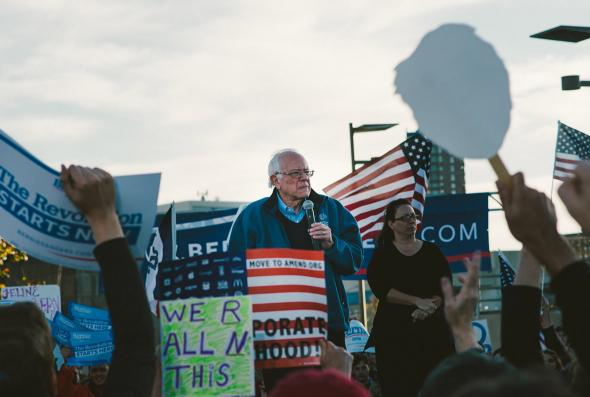 Bernie Sanders speaks to supporters at a rally before the Jeffe