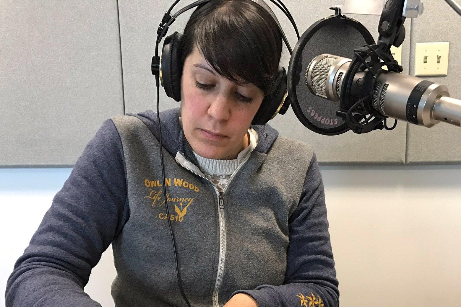Amy Westervelt records a segment at KUNR, the local Reno NPR station.