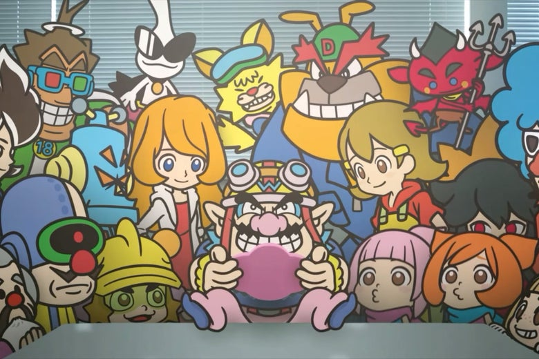 Multiple brightly colored characters with large eyes look at a man with a large pointy black mustache in the center. He holds a pink handheld game console and looks down at the screen, his purple shoes and pink pants propped upon a table in front of the group.