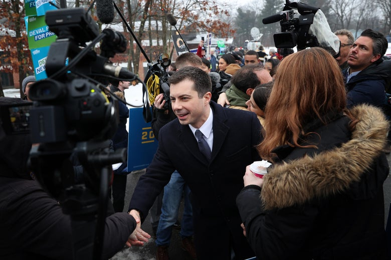 NASHUA, NEW HAMPSHIRE - FEBRUARY 11:  Democratic presidential candidate former South Bend, Indiana Mayor Pete Buttigieg greets supporters outside a polling station at Broad Street Elementary School February 11, 2020 in Nashua, New Hampshire. New Hampshire holds its first in the nation primary today. (Photo by Win McNamee/Getty Images)