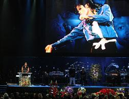 Michael Jackson's public memorial service at Stables Center. Click image to expand.