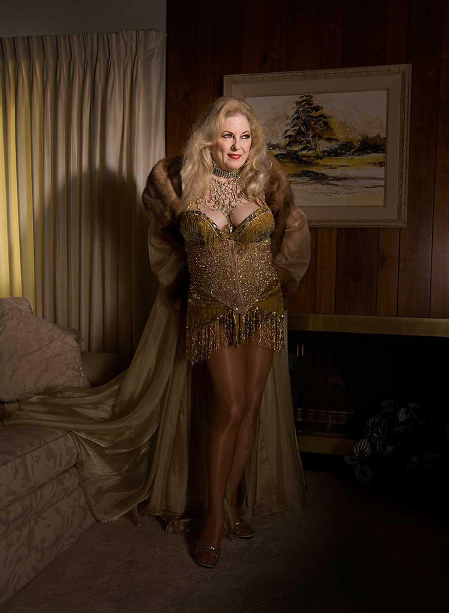 Satan's Angel was known as the Devil's own mistress, the queen of the fire tassels, and worked from around 1968 to 1979 in Vegas at clubs like the Palomino and the Aladdin. She lives in Palm Springs, California.