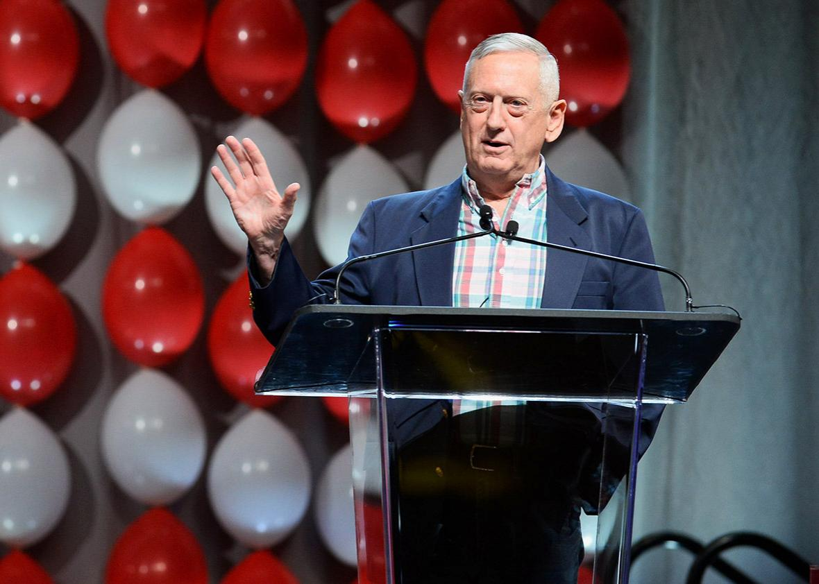 "Retired Marine Corps Gen. James ""Jim"" Mattis speaks during the DIRECTV and Operation Gratitude day of service at the fifth annual DIRECTV Dealer Revolution Conference at Caesars Palace on July 23, 2015 in Las Vegas, Nevada."