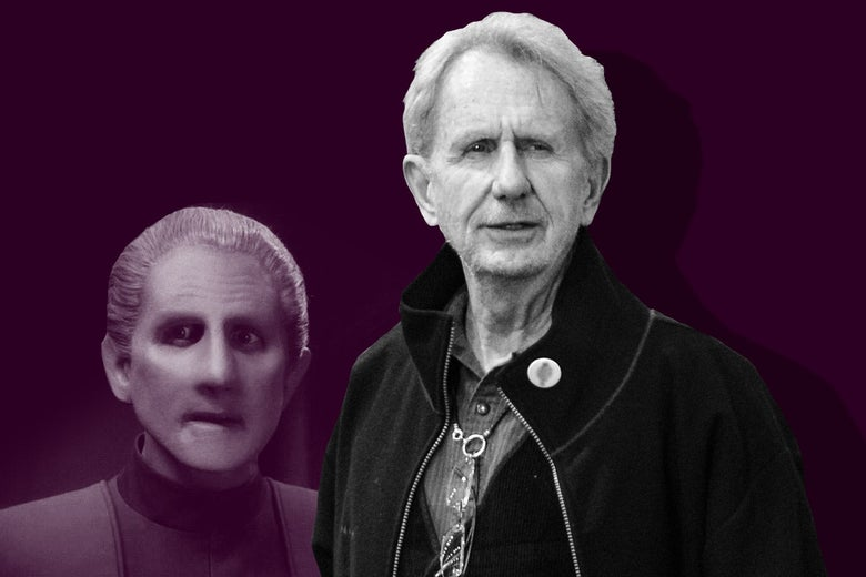 An illustration of René Auberjonois in front of his character Odo, who has smoothed-out facial features and slicked-back hair.