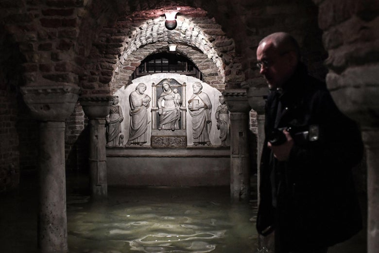 The flooded crypt of St. Mark's Basilica