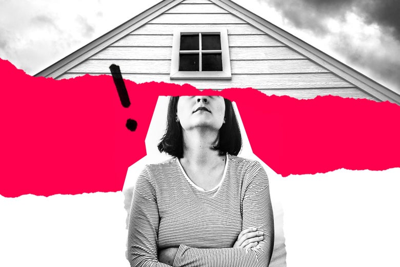 Photo illustration of a woman looking up at an attic.