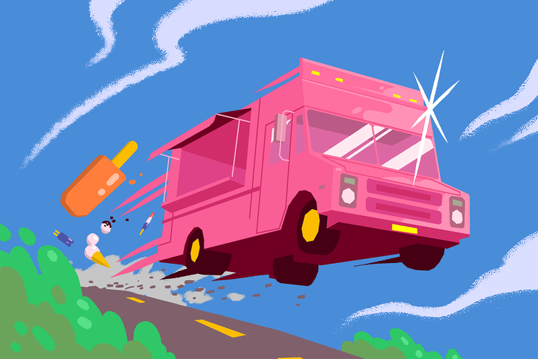 A pink ice cream truck careening off a hill.