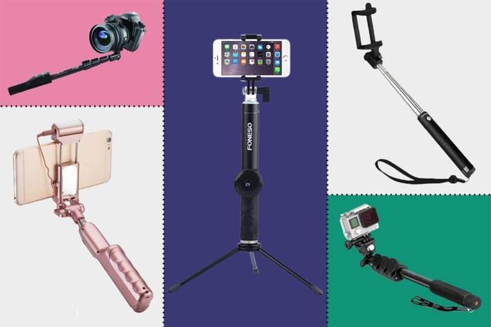 Collage of various selfie sticks.