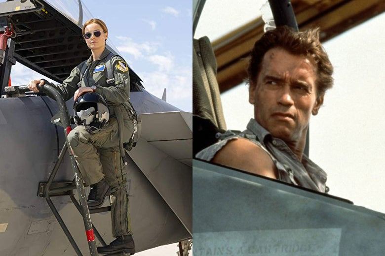 Brie Larson in Captain Marvel and Arnold Schwarzenegger in True Lies.