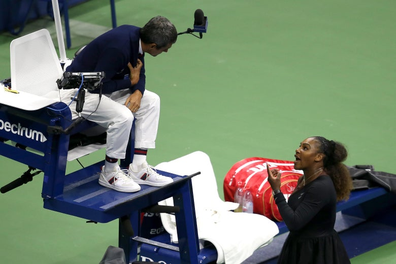 Serena Williams argues with umpire Carlos Ramos during her Women's Singles finals match against Naomi Osaka at the 2018 U.S. Open on September 8, 2018.