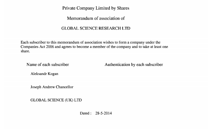 A screenshot from Global Science Research's certificate of incorporation.