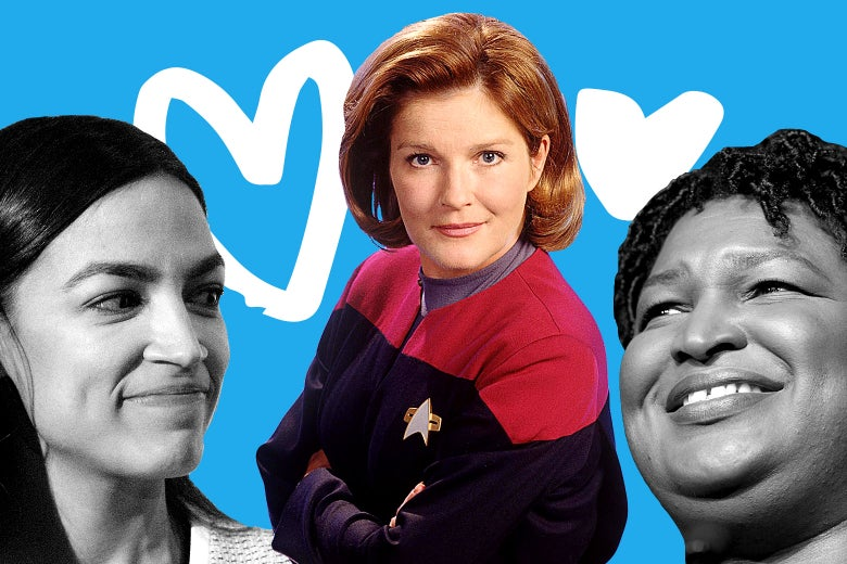 A collage of photos of Alexandria Ocasio-Cortez, Kate Mulgrew as Capt. Janeway, and Stacey Abrams with hearts.
