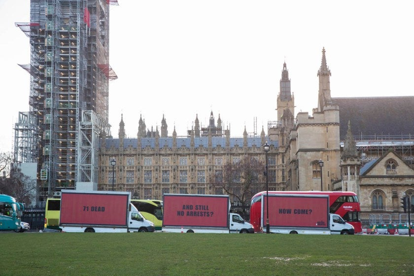 Justice4Grenfell's three billboards in Westminster.