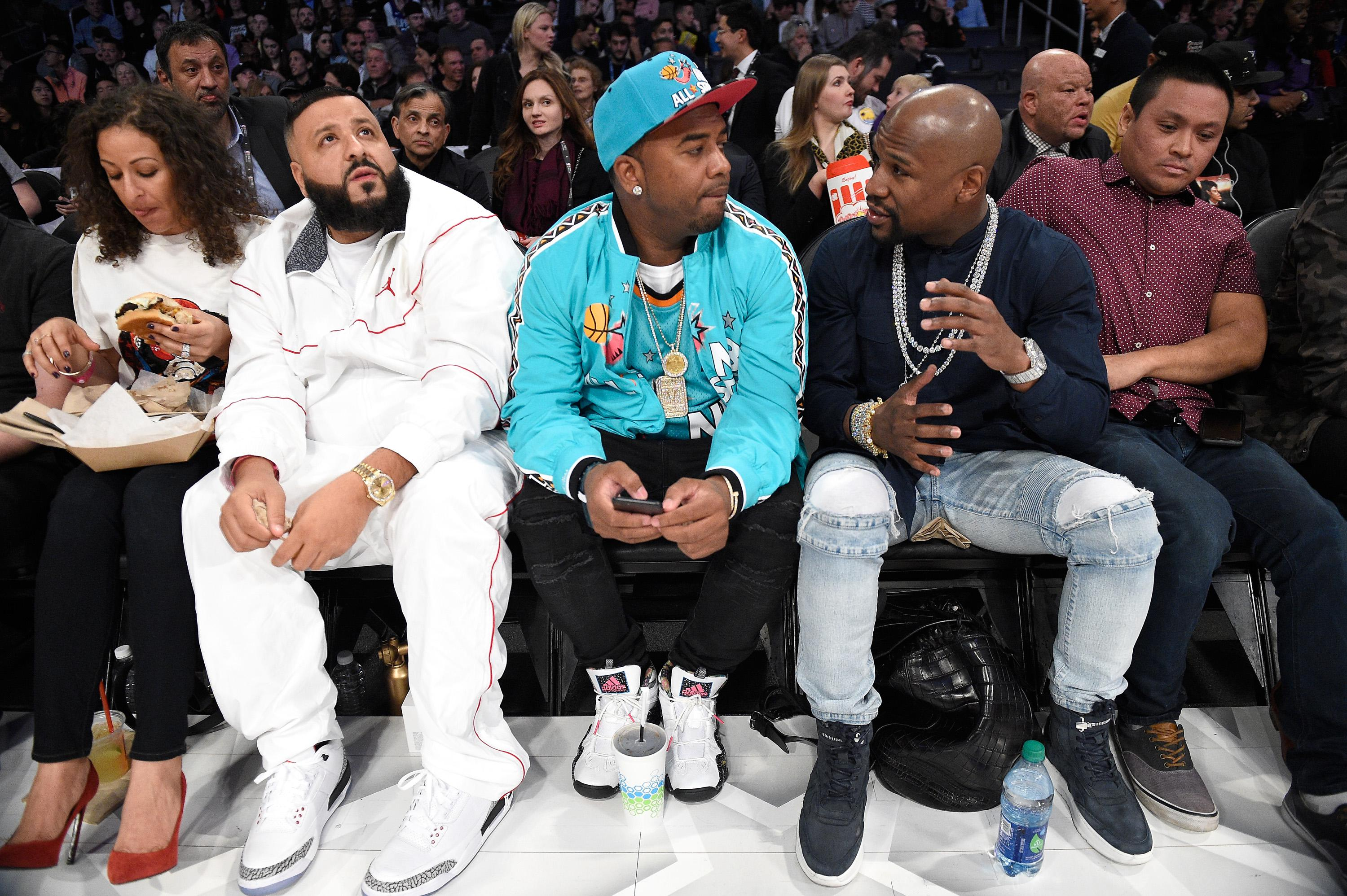 DJ Khaled and Floyd Mayweather at event