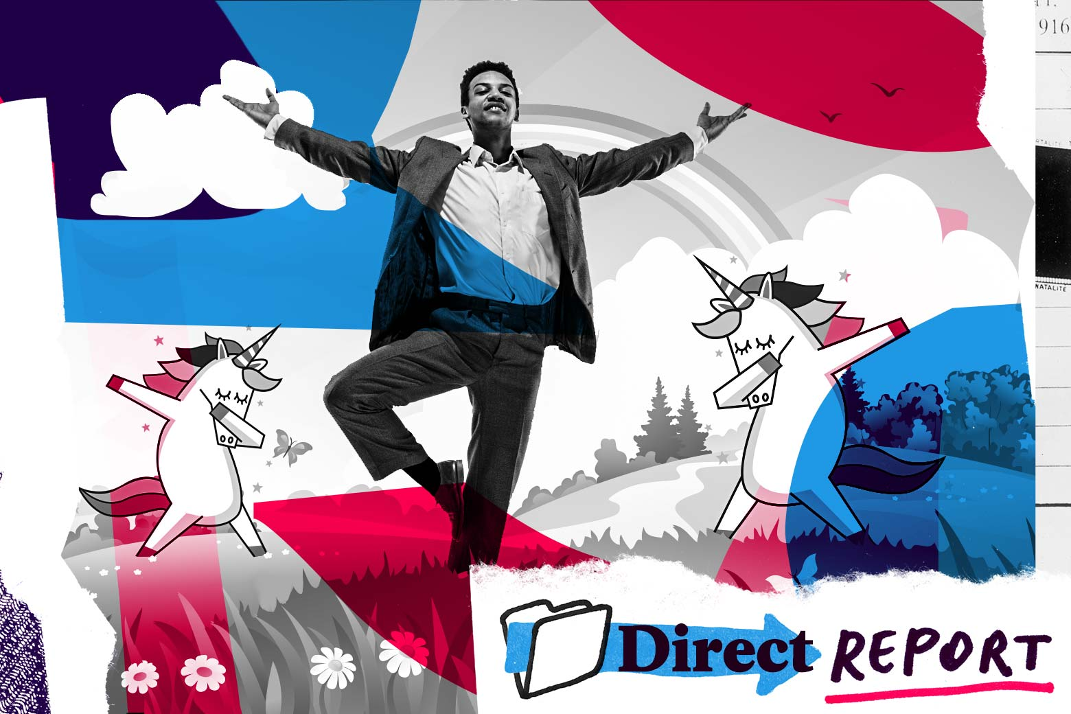 Businessman frolicking in a field with rainbows and dabbing unicorns.
