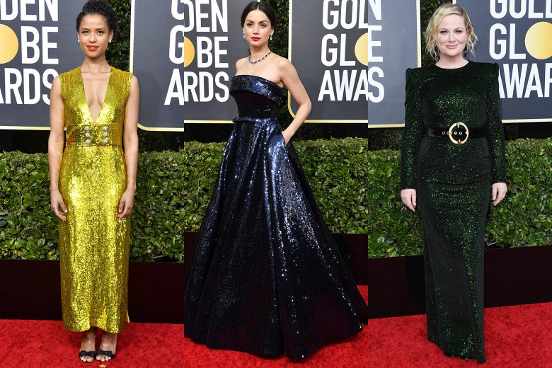 Gugu Mbatha-Raw, Ana de Armas, and Amy Poehler pose on the 2020 Golden Globes red carpet.