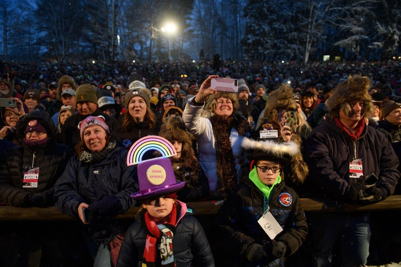 Lauren Edwards, 7, and her brother, Matthew, 11, from Downington, Pennsylvania await the arrival of Punxsutawney Phil during the 134th annual Groundhog Day festivities on February 2, 2020 in Punxsutawney, Pennsylvania.