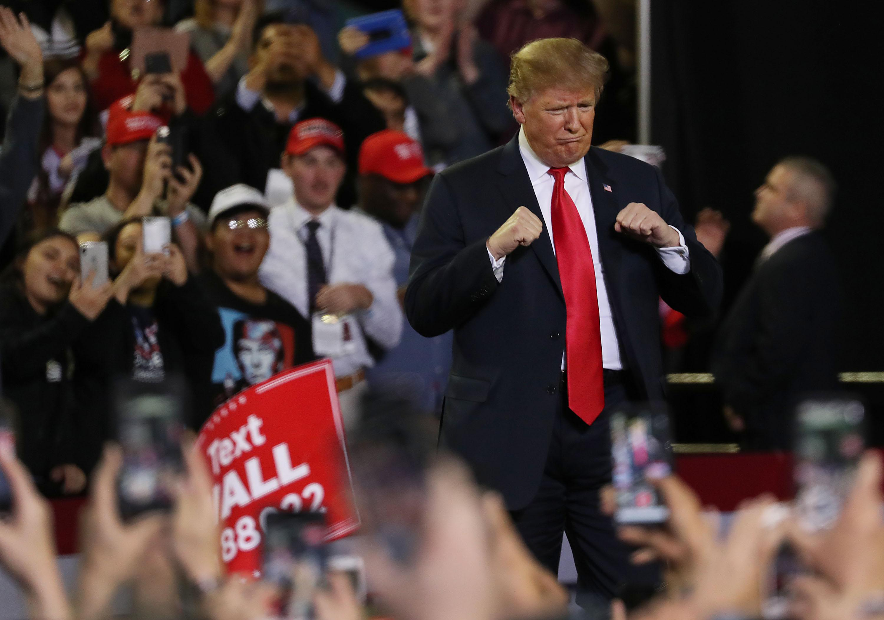 President Trump attends a rally at the El Paso County Coliseum on February 11, 2019 in El Paso, Texas.