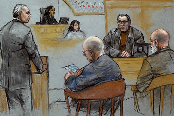 "This courtroom sketch depicts Stephen ""The Rifleman"" Flemmi, upper right, on the witness stand as defendant James ""Whitey"" Bulger listens, seated middle, next to his defense attorney J. W. Carney Jr., seated far right, while prosecutor Fred Wyshak, standing left, questions Flemmi during Bulger's racketeering and murder trial at U.S. District Court in Boston, Friday, July 19, 2013."