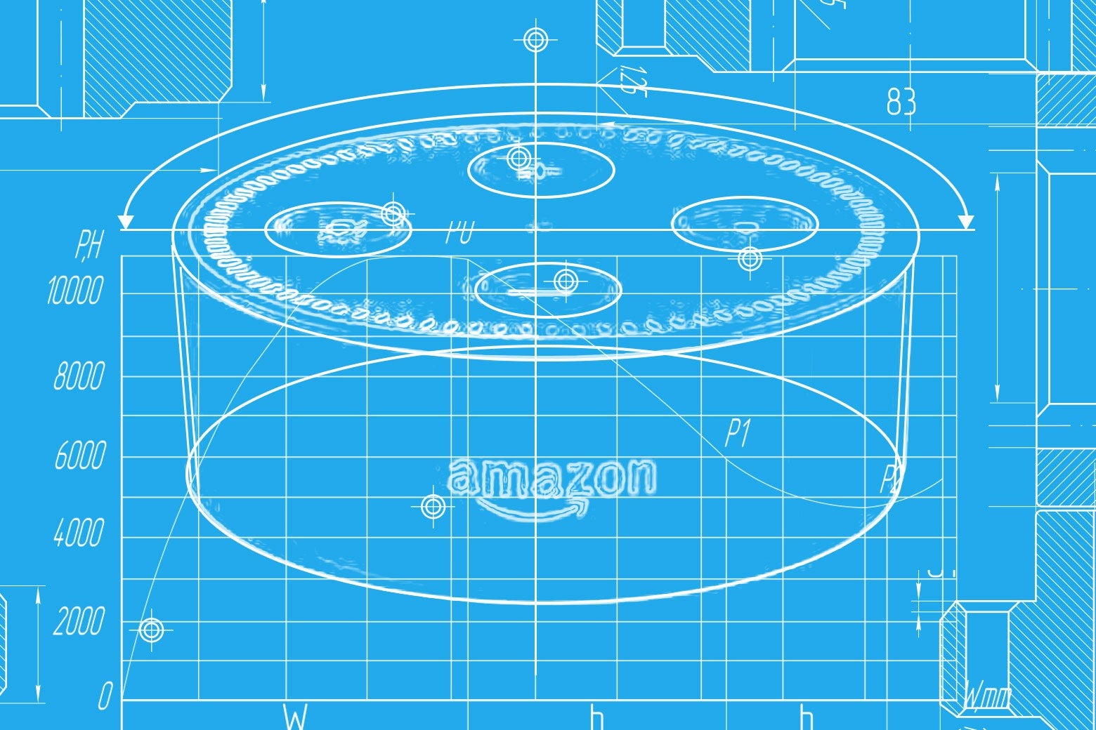 Blueprint illustration of Amazon Echo Dot.