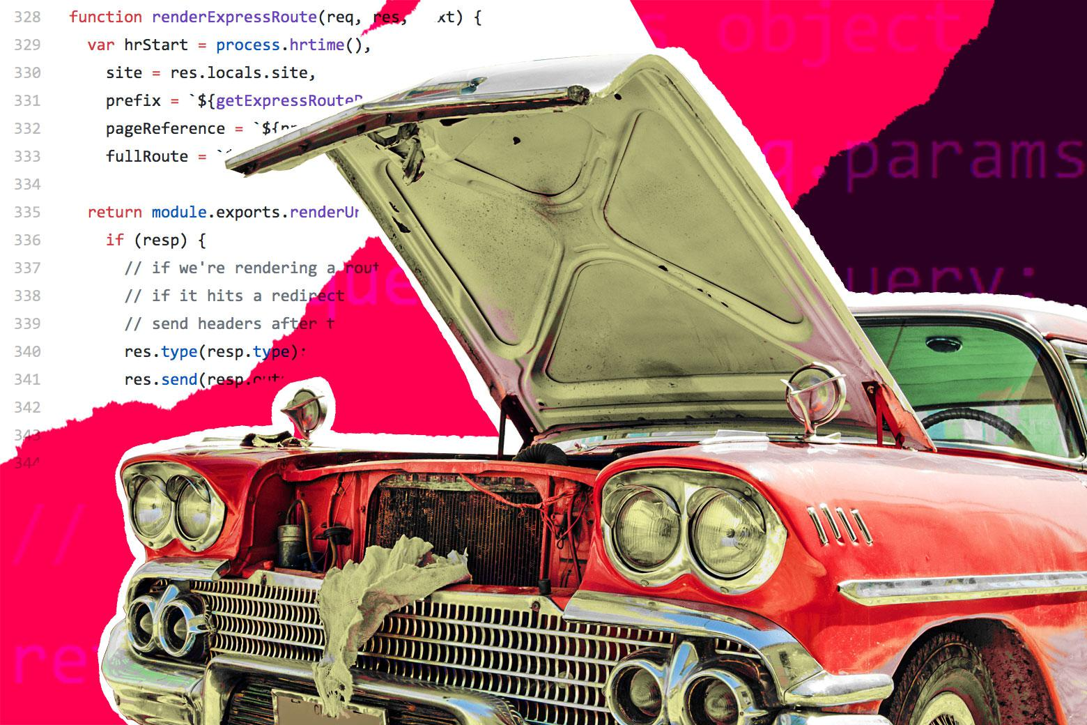 The open hood of a 1950s-style car, with snippets of code overlaid.