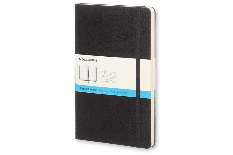 Black Moleskine notebook.