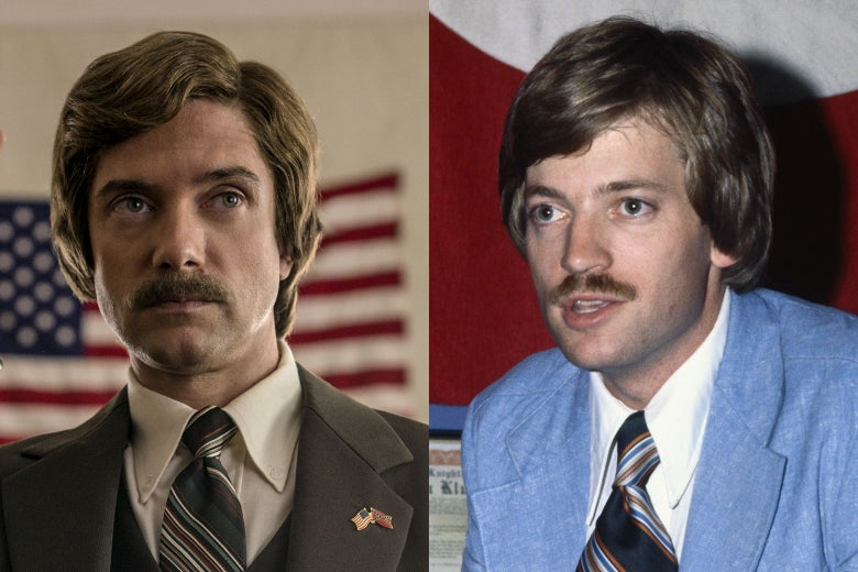 Topher Grace as David Duke and David Duke in 1978.